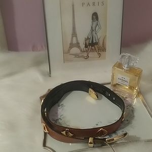 Escada leather belt with gold studded detailNWOT